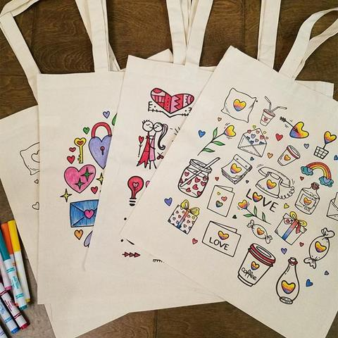 coloring tote bags on etsy